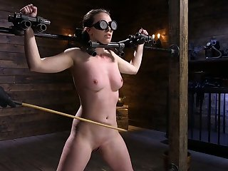 Self-effacing porn model Casey Calvert is fucked hard wide the dark BDSM room