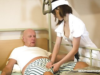 Teen nurse less glasses Adelle Sabelle gives a wonderful blowjob to pensioner