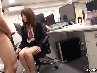 Japanese office babe stays late after work to drag inflate her co worker's dick