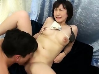 Doggystyle attractive Japanese boobs masturbating