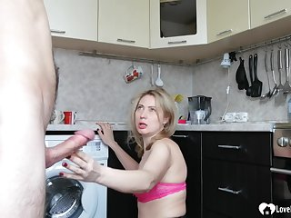 Blond stepmom in stockings takes a hard humping