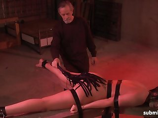 Hot ass Jade Thomas tied up to a table and pleasured by an old guy