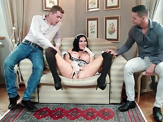 MILF in maid perpetual tempted off out of one's mind bonking in threesome scenes