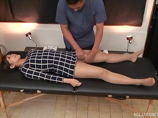 Naughty masseur oils up his hot client and convulsion fingers will not hear of cunt